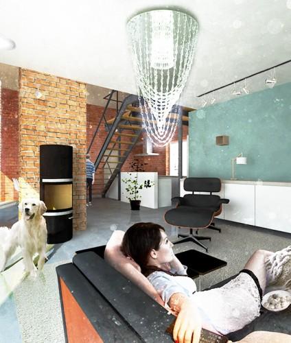 projekt wnetrza domu widok 2 interior design Pliszczyn Piotr Wolinski Architektura